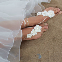 White spring flowers  beach wedding barefoot sandals, bangle, wedding anklet,nude shoes