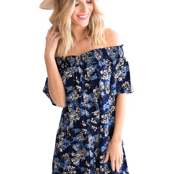 Carbondale Floral Dress In Blue