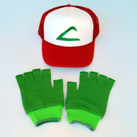Pokemon Costume Hat  Ash Ketchum Original seriesTrainer Hat and Kelly Gloves set Adult Size