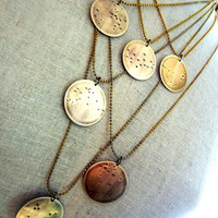 Zodiac Constellation Necklace   What's Your Sign   Aquarius Brass Necklace by E. Ria Designs Jewelry