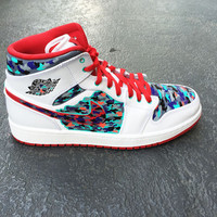 Mens custom Nike Air Jordan 1 shoe, Jordan Camo, Camouflage design, infrared, grape, teal and red, 1 available SIZE 10