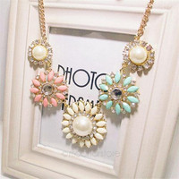 Crystal Flower Bib Statement Necklace Chunky Bubble Choker Collar Pendant Chain = 1946452292