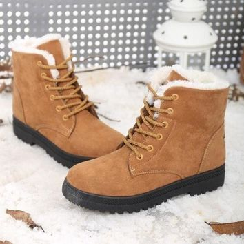 Kalete 4 Color New Fashion Women Flat Ankle Snow Motorcycle Boots Female Suede Leather Lace-Up Martin Boot Winter Cotton-padded Shoes = 1945780932