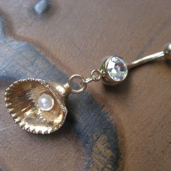 Gold Plated Seashell Belly Button Ring Jewelry- Pearl Oyster Clam Sea Shell Navel Piercing Bar Barbell