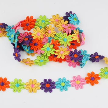 2Y candy color Beautiful sun flower cotton Lace Fabric Sewing Applique satin ribbon DIY Craft lace ribbon tape sewing supplies