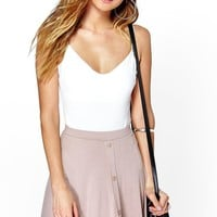 Adriana Button Front Jersey Skater Skirt