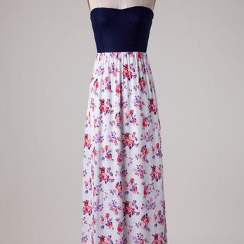 Vintage Roses Maxi Dress - Purple/Pink