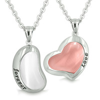 Yin Yang Powers Love Forever Lucky Bean Heart Eternity Amulets Snow White and Pink Cats Eye Necklaces