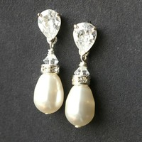 Pearl Bridal Earrings, STERLING SILVER Wedding Earrings, Ivory White Pearl Teardrop Earrings, Modern Vintage Bridal Jewelry, CLASSIC