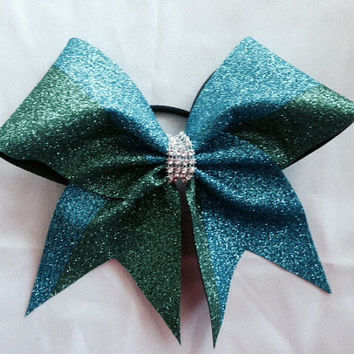 Green and Auqua sparkle cheer Bow