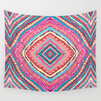 Bright Gypsy Bohemian Abstract Pattern Wall Tapestry by TigaTiga Artworks