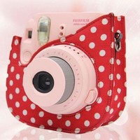 CAIUL Colorful Dots Spot Cloth+PU fuji mini case for Fujifilm Instax Mini 8 Case + Free Shoulder Strap, Red