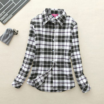 Women gingham Retro Vintage Flannel