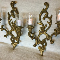 Pair of Double Candle Sconces, Gold Syroco 1960 with Glass Votive Holders