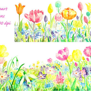 hand painted watercolor spring flower long border tulip, snowdrop, forget me not digital clipart printable instant download scrapbook