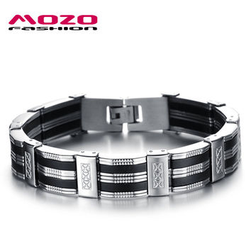 MOZO FASHION Trendy Mens Jewelry Black Silicone Wristband Stainless Steel Personality Classic Men Bracelets Male Bangles MPH850
