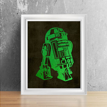 Shiny Green Foil R2D2 Wall Decor, Star Wars Girl Room Wall Art, Star Wars R2D2 Art, Star Wars Nursery Decor, R2D2 Print Art, Starwars Art
