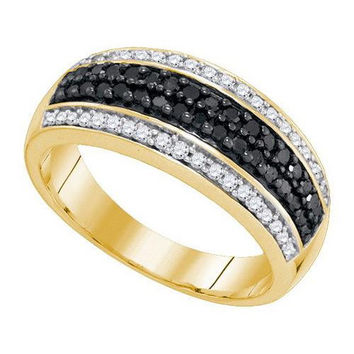 10K Yellow-gold 0.50CTW BLACK DIAMOND MICRO-PAVE RING