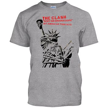 "THE CLASH ""Give Em Enough Rope Tour"" Men's Shirt Punk Rock Band Anarchy High Quality T Shirt"