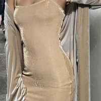 Simple Life Metallic Mini Bodycon Dress