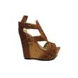 (amp) Laser cut-out peep-toe tan wedges