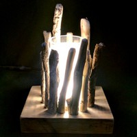 BoGaLeCo.com / Ligths / Lamps / driftwood / Small lamp glass and wood