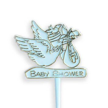 20 Count Blue Stork Baby Cake Cupcake Pick Baby Shower Pick Boy Gender Reveal