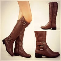 Brown Trendy Knee High Riding Boots Silver Buckle Strap Fashion Tan Equestrian
