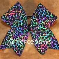 Neon Cheetah Sparkle Rhinestone Cheer Bow