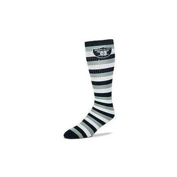 Oakland Raiders Striped Knee High Hi Tube Socks One Size Fits Most Adults
