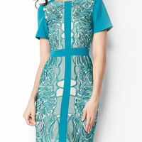 Blue Short Sleeve Embroidered Mini Pencil Bodycon Dress