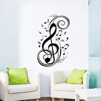 Wall Decal Vinyl Sticker Decals Art Home Decor Murals Decal Notes Waves Music Recording Studio Treble Clef Floral Patterns Bedroom Dorm Decals AN145