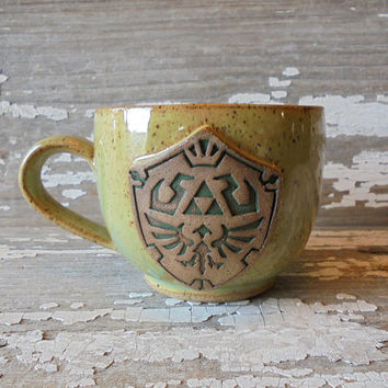 Zelda Coffee Cup - Handmade Pottery Mug - Zelda Inspired - Legend of Zelda - Link