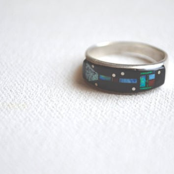 vintage zuni space inlay ring // zuni native america //  incredible vintage micro inlay work