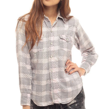 Levis Western Shirt 80s PEARL SNAP Flannel Button Down Top up White Grey 1980s Vintage Long Sleeve Rockabilly Pocket Retro Small