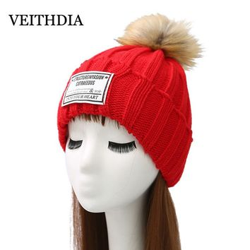 VEITHDIA Mink and fox fur ball cap pom poms winter hat for women girl 's hat knitted beanies cap brand new thick female cap 2