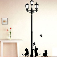 Popular Ancient Lamp Cats and Birds Wall Sticker Wall Mural