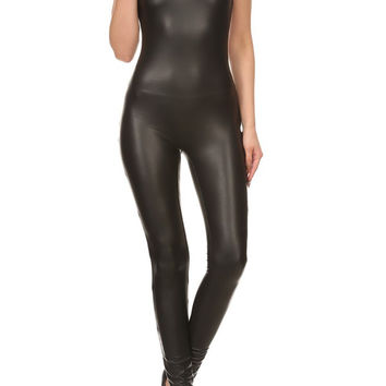 Women Faux Leather Sleeveless Bodycon Jumpsuit