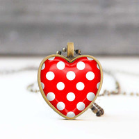 Red polka dot necklace, Heart shaped pendant, Glass dome necklace, Picture Jewelry, Valentine Gift for her, Jewelry for women