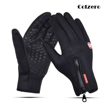 Black Winter Fishing Gloves Anti-Slip Touch Screen Leather Neoprene PU Full Finger Gloves Hunting Driving Cycling Sports Gloves