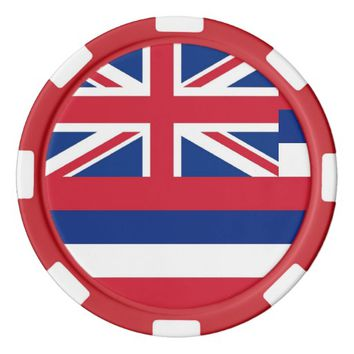 Patriotic poker chips with Flag Of Hawaii