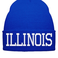 ILLINOIS EMBROIDERY HAT - Beanie Cuffed Knit Cap