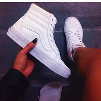 """VANS""SK8-HI Fashion Classic Full white cloth shoes authentic shoes"