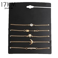 17KM 5 pcs/set Vintage Gold Color Crystal Moon Bracelet Set Punk Key Letter V Bracelets Love Moon Bijoux Jewelry Gifts
