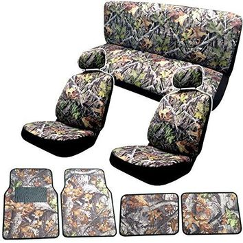 Surreal Camouflage Seat Cover Set 15pc - Front Bench Steering Wheel Cover and Floor Mats - Hawg Camo + FREE WASH MITT