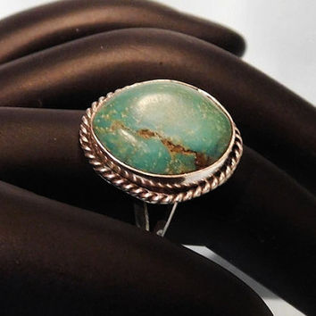 Vintage Royston Turquoise Ring Green Turquoise Sterling Silver Ring Southwestern Native American 1970s Ring Artisan Hand Crafted Jewelry