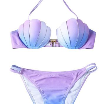 Pxmoda Women's Gradient Color Seashell Bikini Set Padded Mermaid Swimsuit (L, Purple-1)