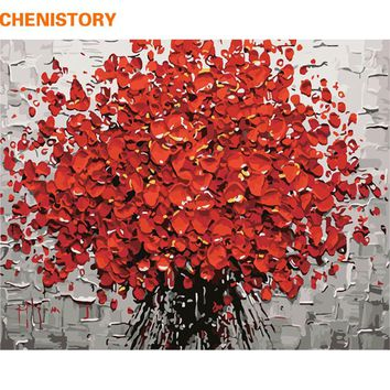 CHENISTORY Red Flower DIY Painting By Numbers Hand Painted Acrylic Picture Wall Art Modern Oil Painting For Wedding Decoration