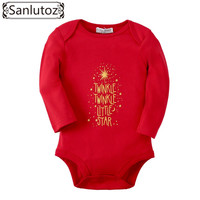 Sanlutoz Baby Winter Clothing Infant Boys Girls Bodysuits Sparkle Stars Printing for Birthday Christmas Baby Clothes Long Sleeve