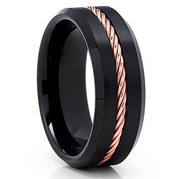 Black Tungsten Ring - Rose Gold Braid - Black Tungsten Wedding Band - Brush